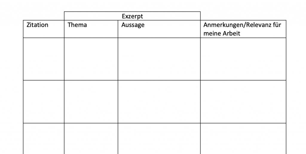 Exzerpt schreiben exzerpieren Tabelle